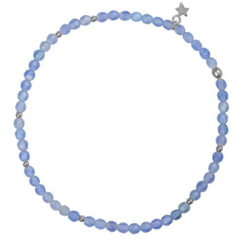 B950 Silver Light Blue BRACELET Beads Blue Calcedone Bracelet Silver