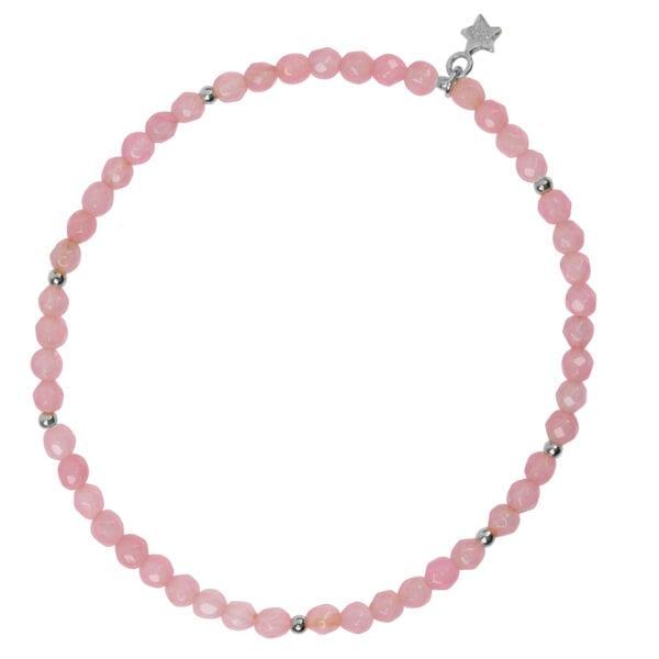 B950 Silver Pink BRACELET Beads Rosequartz Bracelet Silver