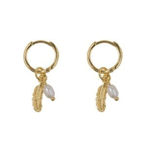 E945 Gold EARRING Small Hoop Feather and Pearl Combi Gold Plated