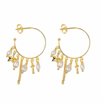 E947 Gold EARRING Hoop Dotted Beads and Pearls Earring Gold Plated 2