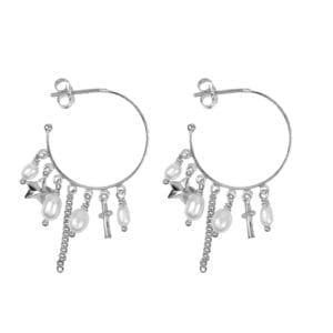 E947 Silver EARRING Hoop Dotted Beads and Pearls Earring Silver 2