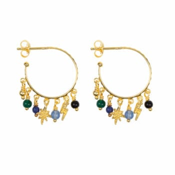 E947a Gold EARRING Hoop Dotted Beads and Colors Earring Gold Plated 2