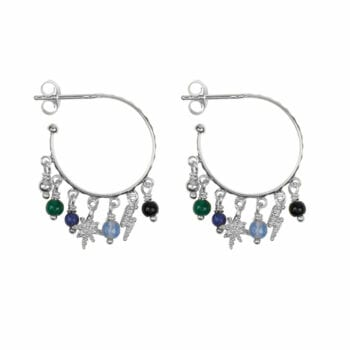 E947a Silver EARRING Hoop Dotted Beads and Colors Earring Silver 2