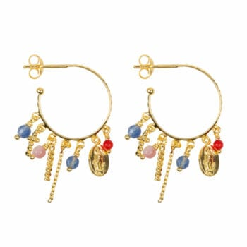 E947b Gold EARRING Hoop Maria and Cross Beads and Colors Earring Gold Plated 2