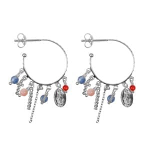 E947b Silver EARRING Hoop Maria and Cross Beads and Colors Earring Silver 2