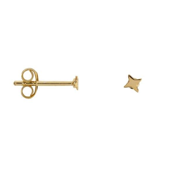 E955 Gold EARRING Ultra Mini Cross Star Stud Earring Gold Plated