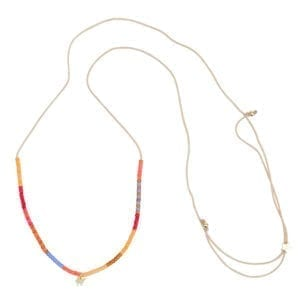 N943 Gold NECKLACE Colour Beads Camel Rope Necklace Gold Plated