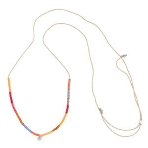 N943 Silver NECKLACE Colour Beads Camel Rope Necklace Silver