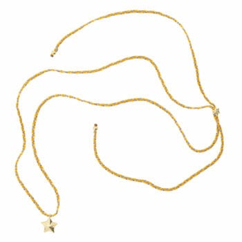 N949 Gold NECKLACE Beaded Rope Necklace Cone Star Gold Plated