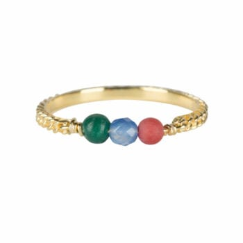 R947 Gold RING Three Gemstone Chain Ring Gold Plated