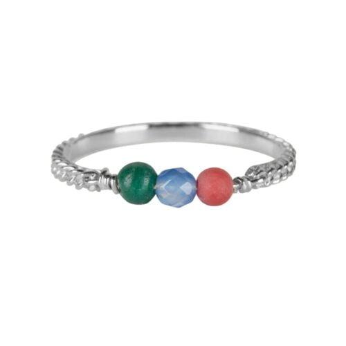R947 Silver RING Three Gemstone Chain Ring Silver