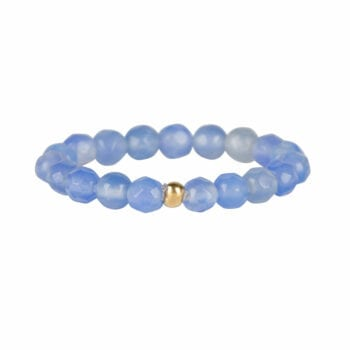 R950 Gold Light Blue RING Beads Blue Calcedone Ring Gold Plated