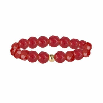 R950 Gold Red RING Beads Red Agate Ring Gold Plated