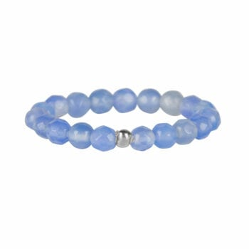 R950 Silver Light Blue RING Beads Blue Calcedone Ring Silver