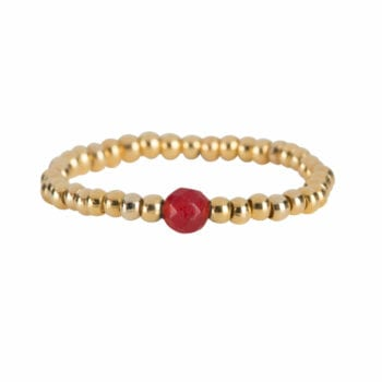 R951 Gold Red RING Beads One Red Agate Ring Gold Plated