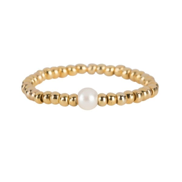 R951 Gold White RING Beads One Pearl Ring Gold Plated