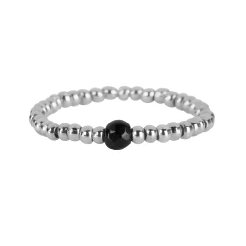 R951 Silver Black RING Beads One Black Onyx Ring Silver