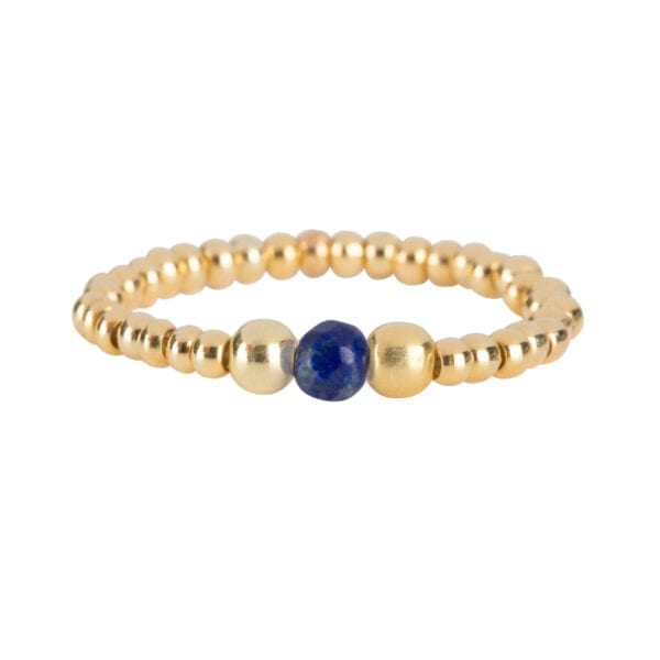 R951a Gold Dark Blue RING Beads One Lapis Lazuli and Two Big Beads Ring Gold Plated