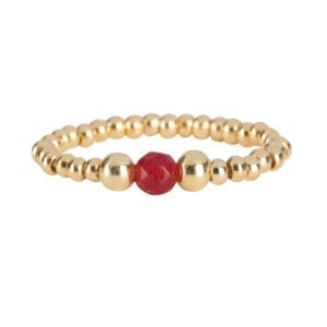R951a Gold Red RING Beads One Red Agate and Two Big Beads Ring Gold Plated
