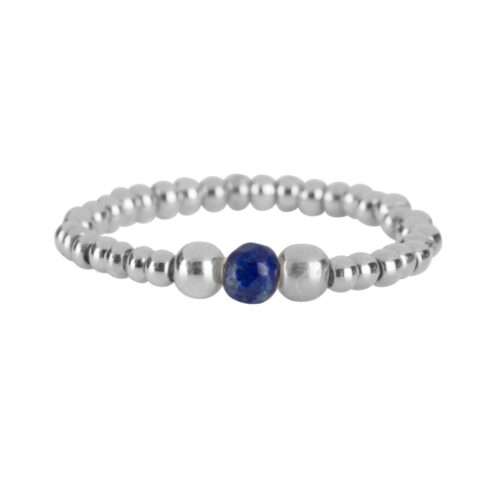 R951a Silver Dark Blue RING Beads One Lapis Lazuli and Two Big Beads Ring Silver