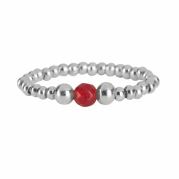 R951a Silver Red RING Beads One Red Agate and Two Big Beads Ring Silver