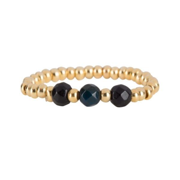 R951b Gold Black RING Beads Three Black Onyx Ring Gold Plated