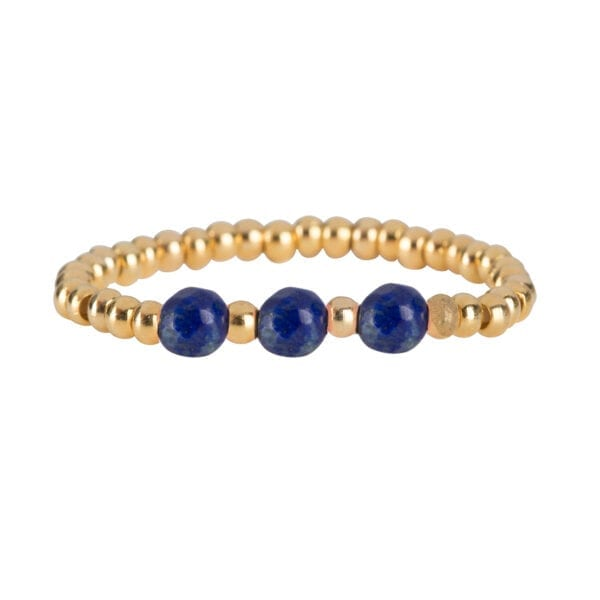 R951b Gold Dark Blue RING Beads Three Lapis Lazuli Ring Gold Plated