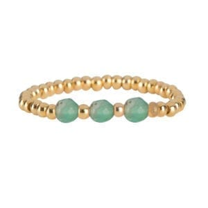 R951b Gold Jade RING Beads Three Jade Ring Gold Plated