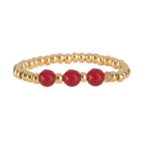 R951b Gold Red RING Beads Three Red Agate Ring Gold Plated