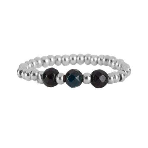 R951b Silver Black RING Beads Three Black Onyx Ring Silver