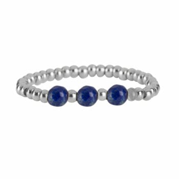 R951b Silver Dark Blue RING Beads Three Lapis Lazuli Ring Silver