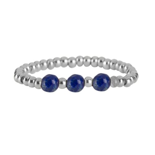 R951b Silver Dark Blue RING Beads Three Lapis Lazuli Ring Silver