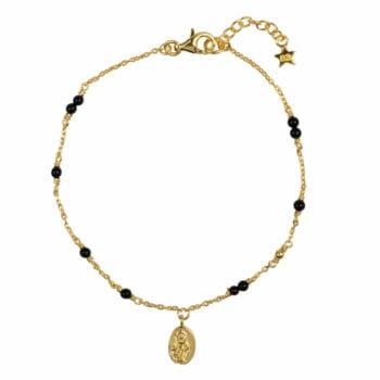 B964 Gold BRACELET Black Onyx Maria Bracelet Gold Plated 69,95 euro
