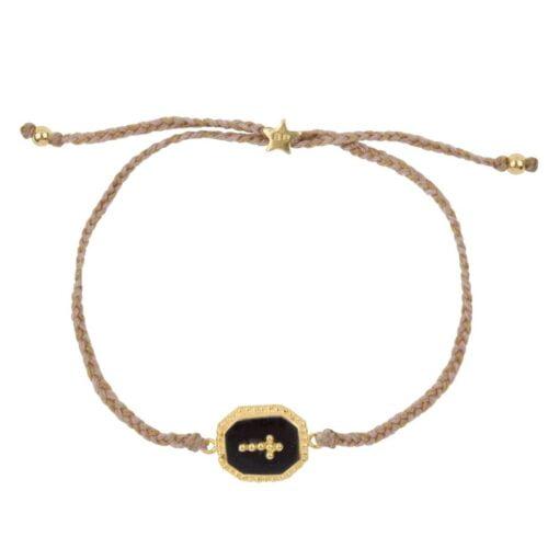 B972 Gold BRACELET Black Octagon Dots Cross Rope Bracelet Gold Plated 44,95 euro
