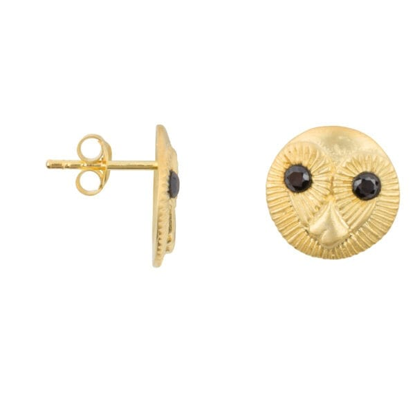 E956 Gold EARRING Owl Face Stud Earring Gold Plated 59,95 euro