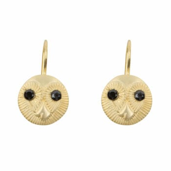 E956a Gold EARRING Owl Face Hook Earring Gold Plated 59,95 euro