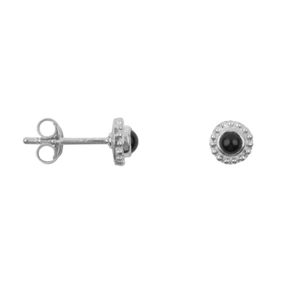 E957 Silver EARRING Round Dotted Black Onyx Stud Earring Silver 29,95 euro