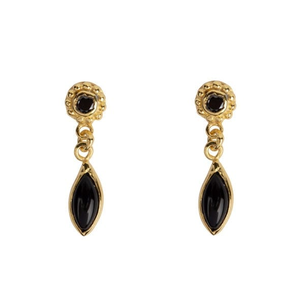 E957a Gold EARRING Round Dotted Black Onyx with Drop Stud Earring Gold Plated 39,95 euro