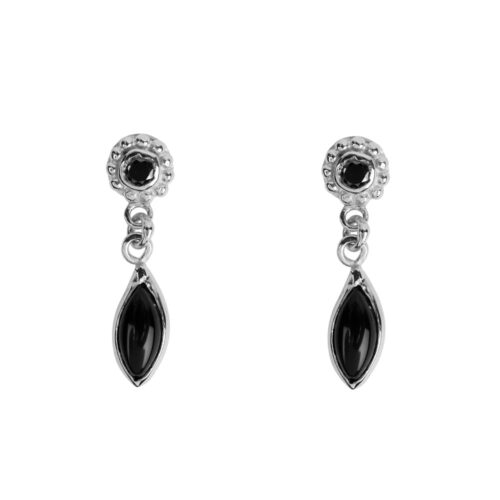 E957a Silver EARRING Round Dotted Black Onyx with Drop Stud Earring Silver 34,95 euro