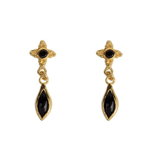 E958a Gold EARRING Antique Dotted Black Onyx with Drop Stud Earring Gold Plated 39,95 euro