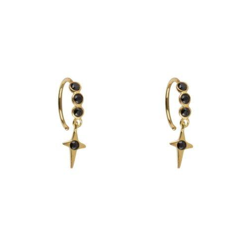 E960 Gold EARRING Black Zirkonia Polestar Ring Earring Gold Plated 34,95 euro