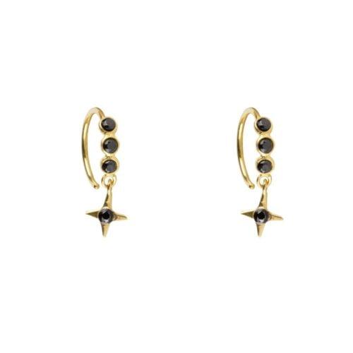E961 Gold EARRING Black Zirkonia Cross Star Ring Earring Gold Plated 34,95 euro