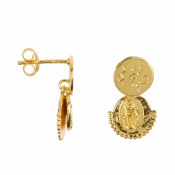 E963 Gold EARRING Three Double Coin Stud Earring Gold Plated 54,95 euro