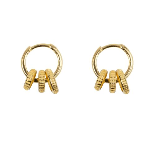 E965 Gold EARRING Small Hoop Three Ribbed Circles Earring Gold Plated 49,95 euro