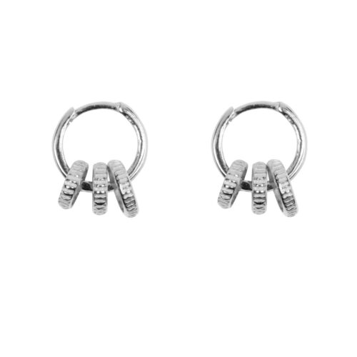 E965 Silver EARRING Small Hoop Three Ribbed Circles Earring Silver 44,95 euro