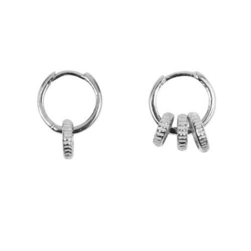 E965a Silver EARRING Small Hoop One and Three Ribbed Circles Earring Silver 39,95 euro
