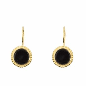 E967 Gold EARRING Black Round Dots Hook Earring Gold Plated 44,95 euro