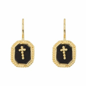 E968a Gold EARRING Black Octagon Cross Hook Earring Gold Plated 44,95 euro