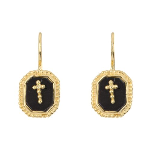 E968a Gold EARRING Black Octagon Cross Hook Earring Gold Plated 44,95 euro