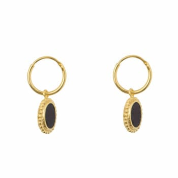 E970 Gold EARRING Black Oval Dots Small Hoops Earring Gold Plated 44,95 euro